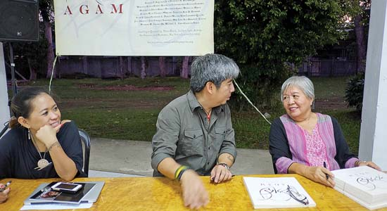 From left to right: Regina Abuyuan, Agam editor; Constantino and Merle Alunan, Agam contributor, during the book's launch at University of the Philippines in Tacloban. -- VJ Villafranca
